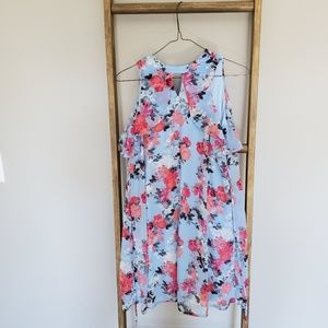 Baby blue floral high necked dress with tie.
